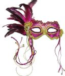 Pink & Gold mask on a headband or ribbons
